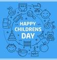 linear happy children day vector image