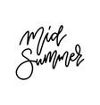 midsummer lettering sweden mid summer holiday vector image