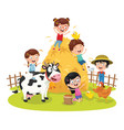 of farm kid vector image
