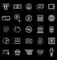 payment line icons on black background vector image vector image