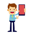 printbusinessman holding and pointing at smart vector image