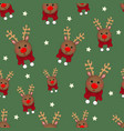 reindeer with red scarf on green background vector image vector image