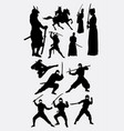 samurai and ninja japanese warrior silhouettes vector image