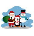 santa claus with penguin and snowman to celebrate vector image vector image