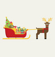 santa sleigh with gifts and presents with vector image vector image