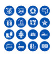 scuba diving snorkeling flat glyph icons vector image