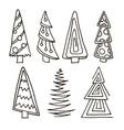 set christmas trees hand drawn vector image