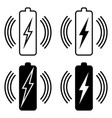 set icons wireless battery charging qi vector image