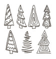 set of christmas trees hand drawn vector image vector image