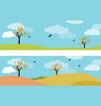 set of two autumn landscape panorama with vector image