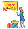 super sale offer with 20 percents off price vector image vector image