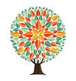 tree mandala leaf art with autumn leaves vector image vector image