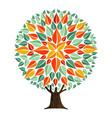 tree mandala leaf art with autumn leaves vector image