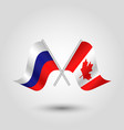two crossed russian and canadian flags vector image vector image