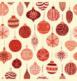 vintage christmas ornaments red and beige pattern vector image vector image
