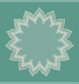 vintage lacy frame on blue background doily vector image vector image