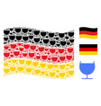 waving german flag pattern of alcohol glass icons vector image