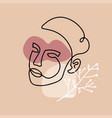 woman s head with floral branch line vector image
