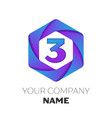 number three logo in the colorful hexagonal vector image