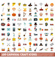 100 carnival craft icons set flat style vector image vector image