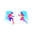 a guy and a girl cute characters in a comic vector image vector image