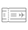 airport ticket thin line icon travel and tourism vector image