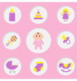 Baby girl shower card Its a girl Bottle horse vector image vector image