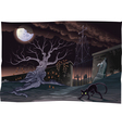 Black cat and cemetery in the night vector image
