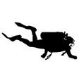 black silhouette scuba divers on a white vector image vector image