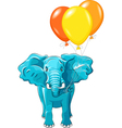 blue african elephant with balloons vector image vector image