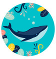 blue whale under water in round background flat vector image vector image
