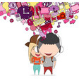 boy and girl teens was selfie with phone happy vector image vector image