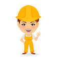 Builder woman funny female worker with big head