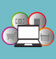 buy on line with laptop computer vector image vector image