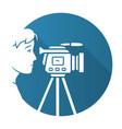 cameraman blue flat design long shadow glyph icon vector image vector image