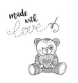 card handmade theme with lettering and teddy bear vector image