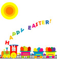 cartoon train with colored eggs vector image vector image