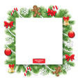christmas decorative square frame vector image vector image