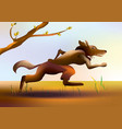 colorful cartoon running wolf vector image