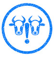 cow problem rounded grainy icon vector image vector image