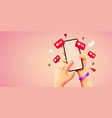 cute 3d cartoon hand holding mobile smartphone vector image vector image