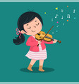 cute little girl playing violin vector image