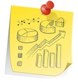 doodle sticky note graph chart vector image vector image