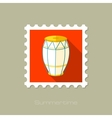 Drum flat stamp with long shadow vector image