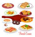 finnish cuisine fish vegetable dish cartoon icons vector image