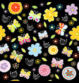 floral pattern with butterflies on black vector image