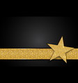 gold shiny star on black background vector image vector image