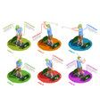 golf players isometric isolated icons vector image vector image