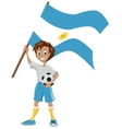 Happy soccer fan holds Argentina flag vector image