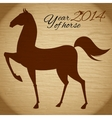 Horse silhouette on wood background vector image vector image